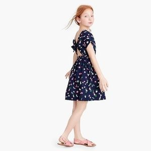 Crewcuts Navy Vegetables Cut Out Back Dress, 10